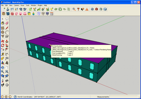 Information Tool in Render by Construction Mode Showing Construction Data